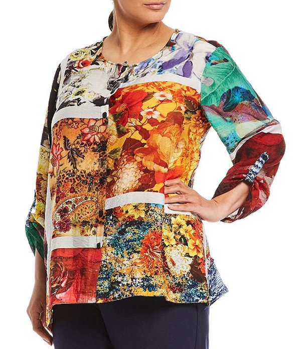 ジョン マーク レディース カットソー トップス Plus Size Printed Novelty Button Front Roll-Tab Sleeve Tunic Multi