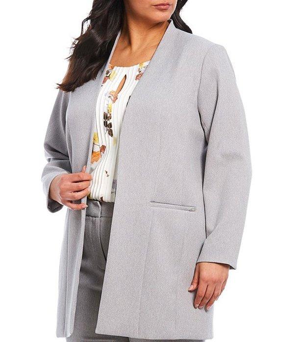 カルバンクライン レディース ジャケット・ブルゾン アウター Plus Size Stretch Woven Suiting Open Front Jacket Tin/White