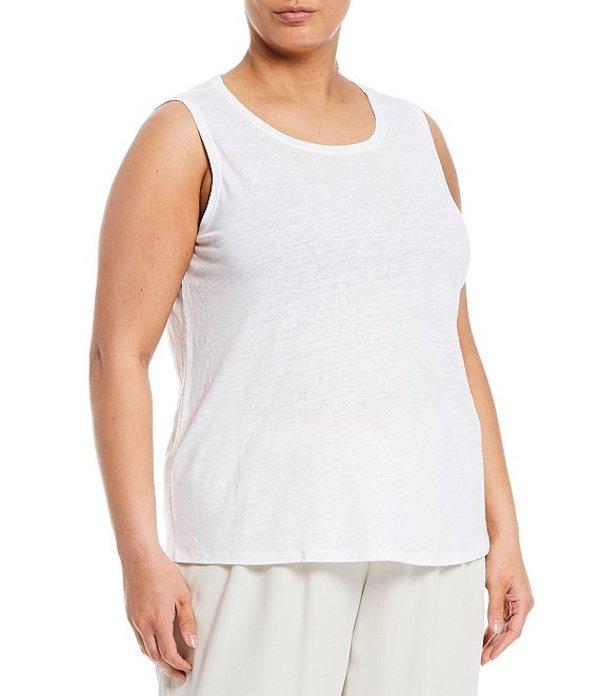 エイリーンフィッシャー レディース タンクトップ トップス Plus Size Organic Linen Jersey Scoop Neck Tank White