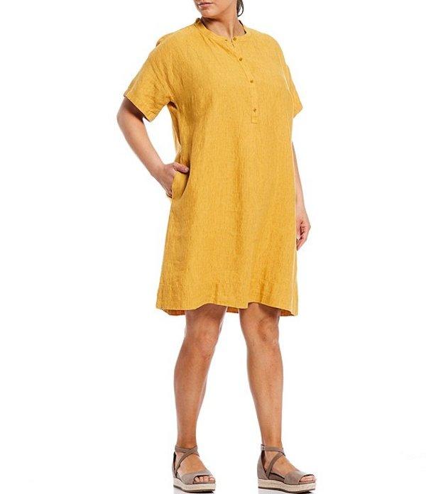 エイリーンフィッシャー レディース ワンピース トップス Plus Size Washed Organic Linen Delave Short Sleeve Shirt Dress Marigold