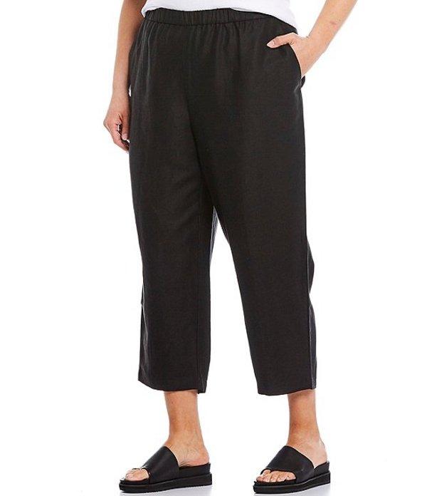 エイリーンフィッシャー レディース カジュアルパンツ ボトムス Plus Size Tencel Organic Linen Slub Easy Cropped Pant Black