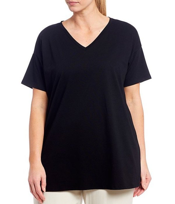エイリーンフィッシャー レディース カットソー トップス Plus Size Organic Cotton Blend Stretch Jersey V-Neck Short Sleeve Tunic Black