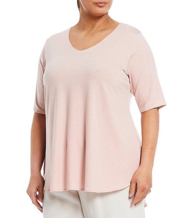 エイリーンフィッシャー レディース カットソー トップス Plus Size Tencel Jersey V-Neck Short Sleeve Tunic Powder