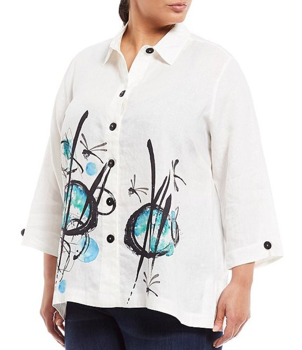 ジョン マーク レディース シャツ トップス Plus Size Abstract Print 3/4 Sleeve Novelty Button Front Blouse Abstract Mutli