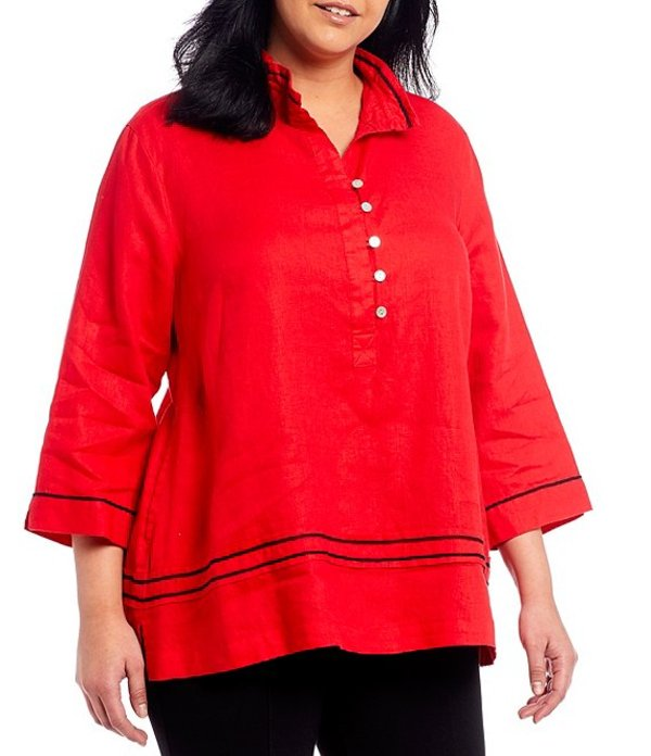 ジョン マーク レディース カットソー トップス Plus Size Wire Collar 3/4 Sleeve Stitching Decorative Detail Linen Tunic Red