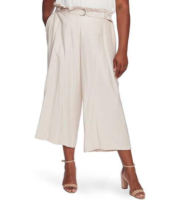 セセ レディース カジュアルパンツ ボトムス Plus Size Paperbag Waist Belted Crop Pants Warm Vanilla