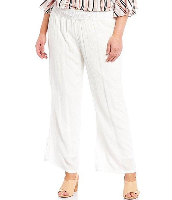 アイエヌ スタジオ レディース カジュアルパンツ ボトムス Plus Size Solid Crepon Pull-On Wide Leg Pants Off White