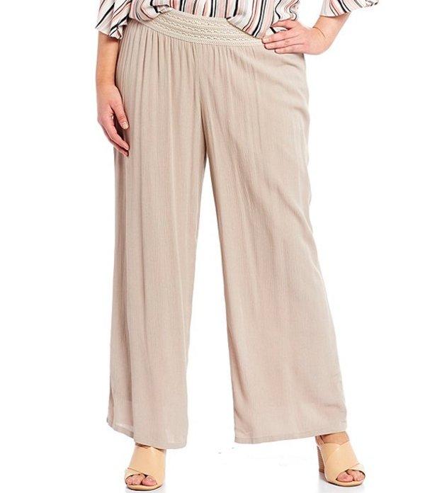 アイエヌ スタジオ レディース カジュアルパンツ ボトムス Plus Size Solid Crepon Pull-On Wide Leg Pants Sand