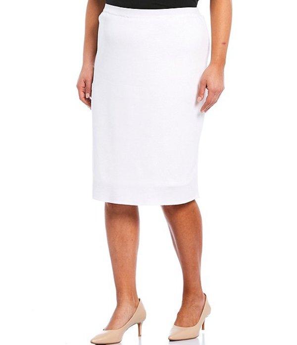 ミンウォン レディース スカート ボトムス Plus Size Pull-On Straight Skirt White