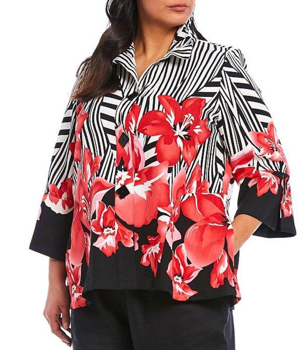 アイシーコレクション レディース ジャケット・ブルゾン アウター Plus Size Stripe Floral Printed High Neck Jacket Red