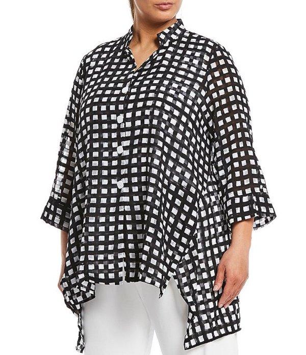 アイシーコレクション レディース カットソー トップス Plus Size Sheer Gingham 3/4 Sleeve Button Front Full Blouse Black