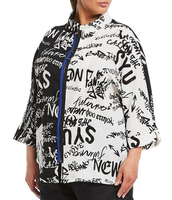 アイシーコレクション レディース ジャケット・ブルゾン アウター Plus Size Black & White Typography Print Front Zip Jacket White
