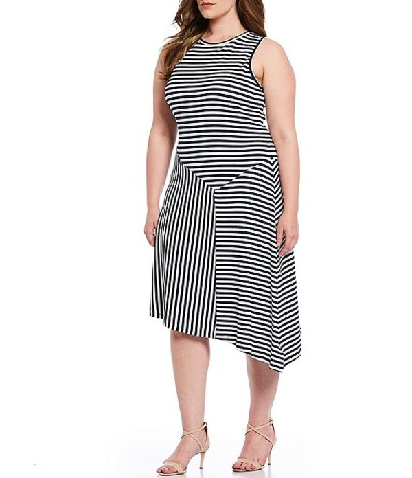 マイケルコース レディース ワンピース トップス MICHAEL Michael Kors Plus Size Mix Panel Stripe Knit Jersey Asymmetrical Hem Sleeveless Midi Dress True Navy