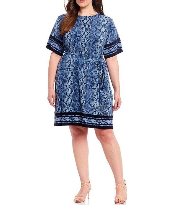 マイケルコース レディース ワンピース トップス MICHAEL Michael Kors Plus Size Snake Skin Border Print Lux Matte Jersey Short Sleeve Tie-Waist Dress Chambray