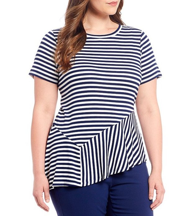 マイケルコース レディース Tシャツ トップス MICHAEL Michael Kors Plus Size Mix Stripe Panel Knit Jersey Asymmetrical Hem Top True Navy