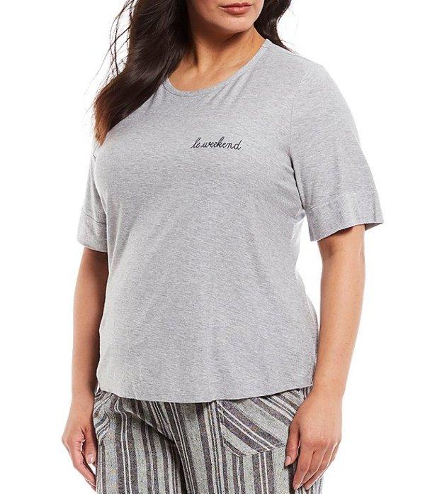 ウエストバウンド レディース Tシャツ トップス Plus Size Short Sleeve Crew Neck Cotton Blend Tee Light Grey Heather