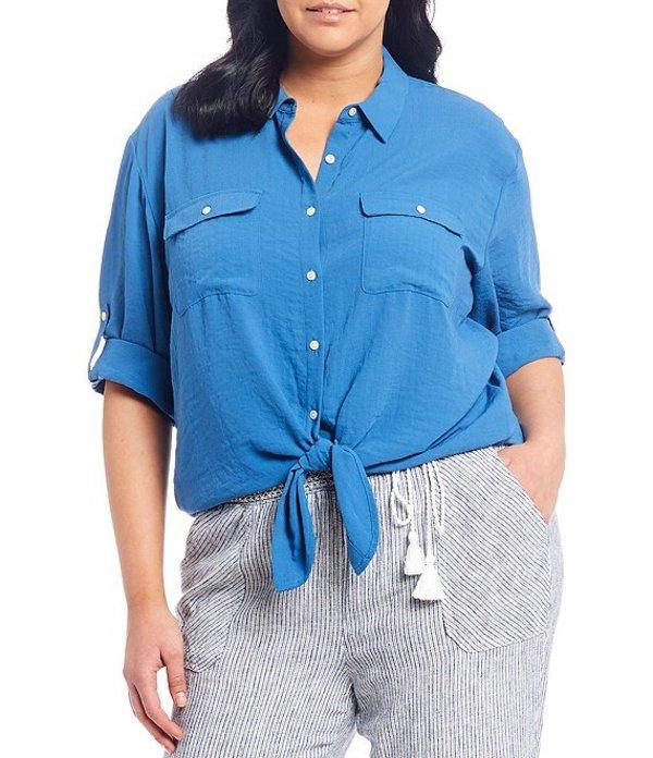 ウエストバウンド レディース シャツ トップス Plus Size Roll-Tab Elbow Sleeve Tie Front Shirt Bright Cobalt