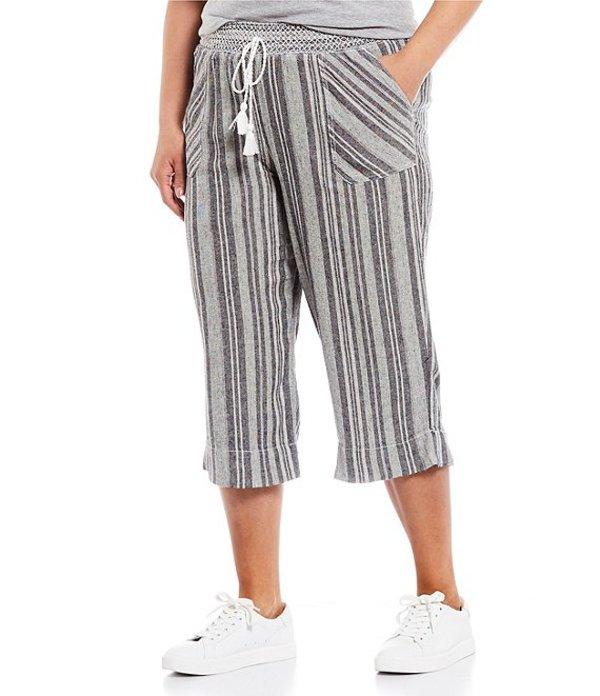 ウエストバウンド レディース カジュアルパンツ ボトムス Plus Size Black Stripe Linen Capri Pant Black/White Stripe