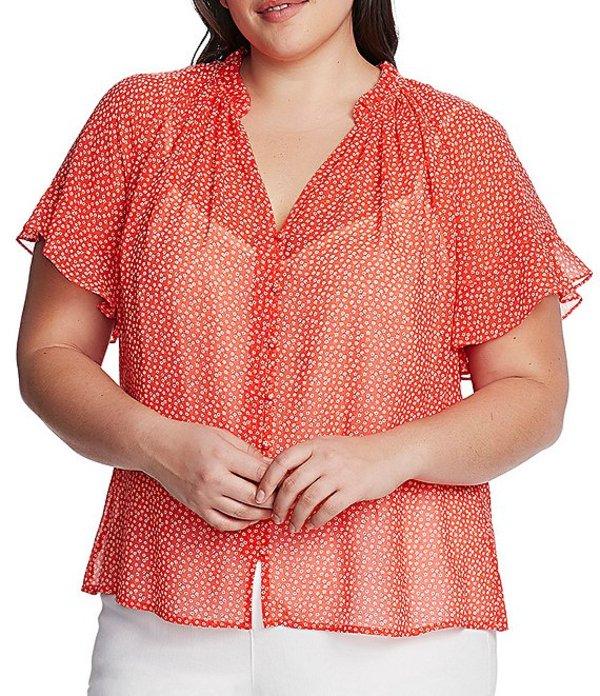 ヴィンスカムート レディース シャツ トップス Plus Size Ruffled Short Sleeve Ditsy Floral Button Down Blouse Bright Ladybug
