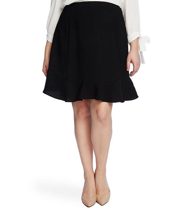 セセ レディース スカート ボトムス Plus Size Ruffled Moss Crepe A-Line Skirt Rich Black