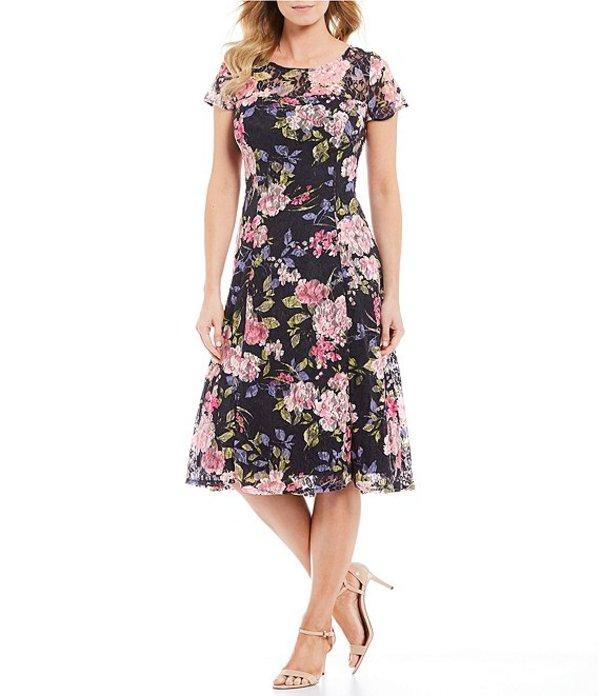 イグナイト レディース ワンピース トップス Petite Size Floral Lace Cap Sleeve Midi Dress Navy Multi