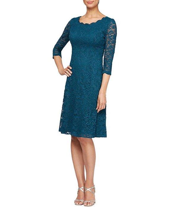 アレックスイブニングス レディース ワンピース トップス Petite Size Glitter Lace Illusion Sleeve A-Line Dress Deep Teal