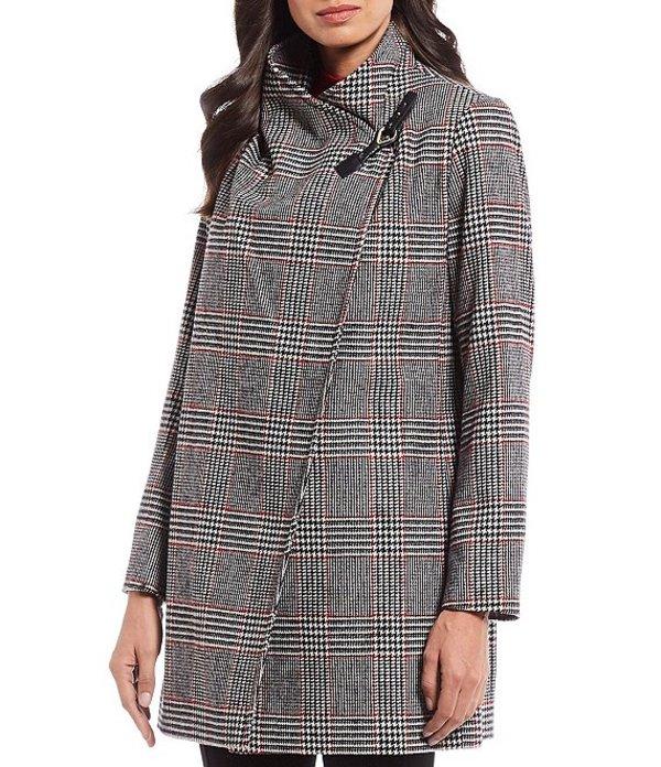 プレストンアンドヨーク レディース ジャケット・ブルゾン アウター Plaid Drape Front Wool Blend Coat Plaid