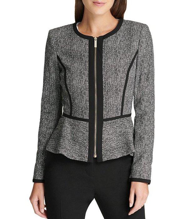 ダナ キャラン ニューヨーク レディース ジャケット・ブルゾン アウター Collarless Zip Front Long Sleeve Peplum Jacket Black Combo