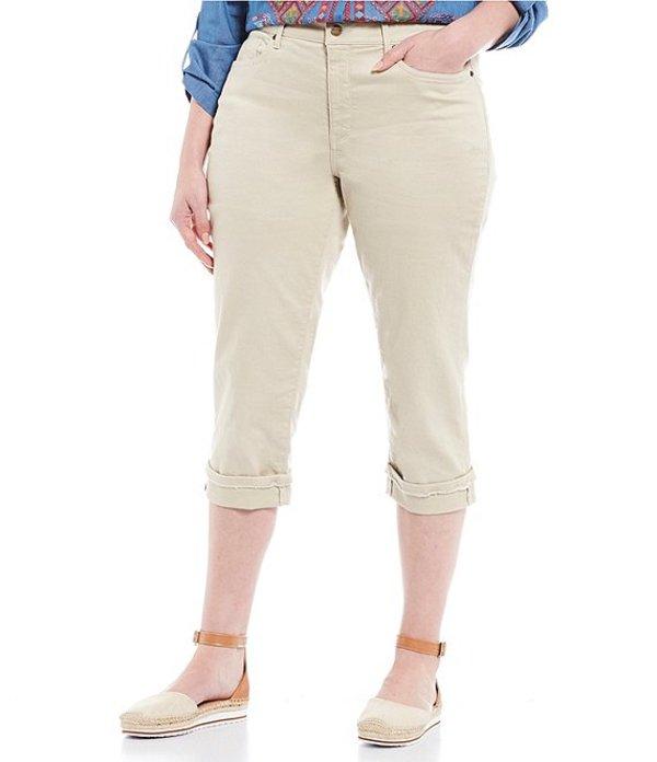 エヌワイディージェイ レディース デニムパンツ ボトムス Plus Size Marilyn Straight Leg Frayed Cuffs Capri Jeans Feather