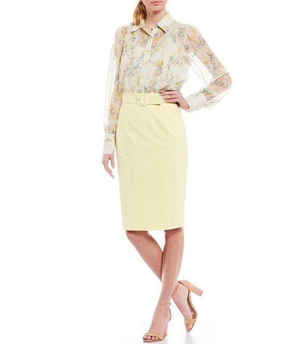 アントニオ メラーニ レディース スカート ボトムス Corinne Stretch Cotton Blend Belted Pencil Skirt SunlighteCBrdxoW