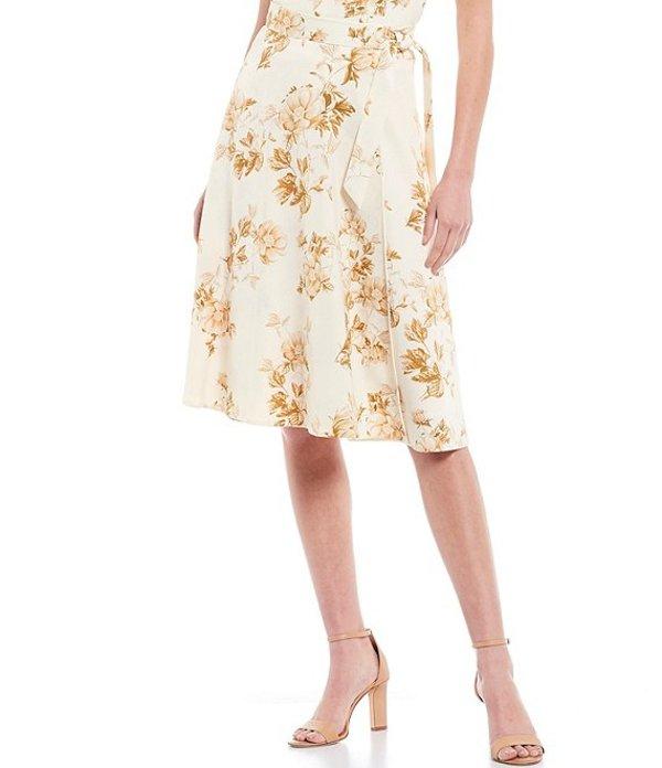 アントニオ メラーニ レディース スカート ボトムス Charlotte Floral Print Tie Waist Satin A-Line Skirt Ivory/Butter