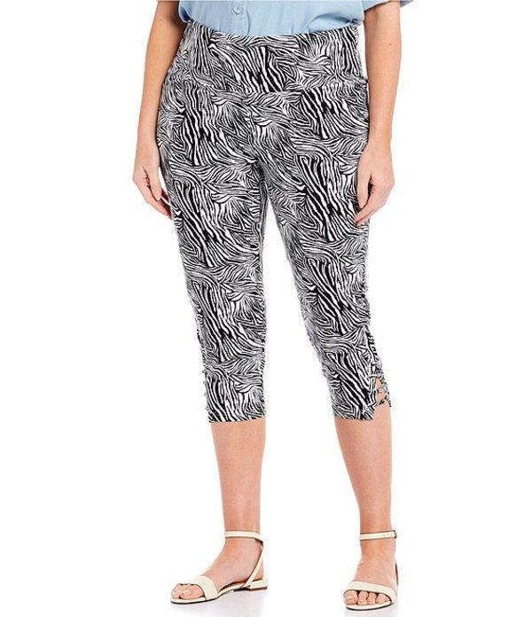 イントロ レディース カジュアルパンツ ボトムス Plus Size Teri Love the Fit Zebra Print Capri Legging Bright White Animal