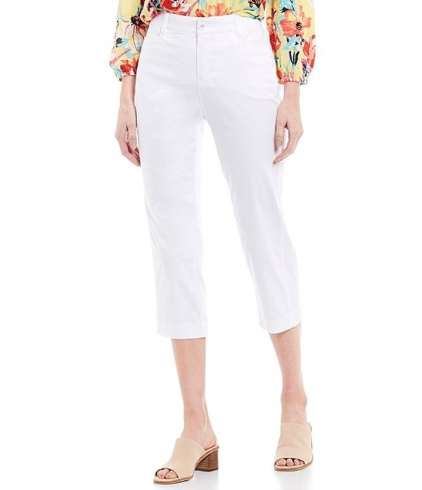 イントロ レディース カジュアルパンツ ボトムス Petite Size Becky Stretch Sateen Cotton Blend Capri Pant Bright White