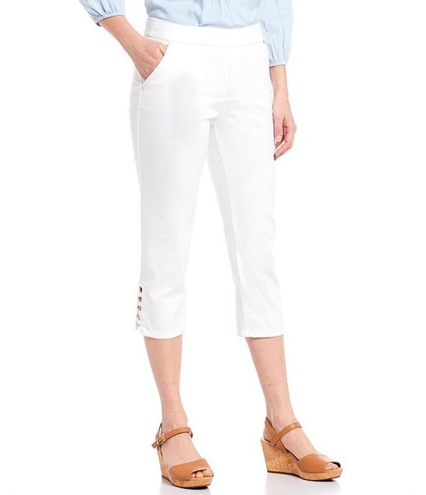 イントロ レディース カジュアルパンツ ボトムス Petite Size Rose Metal Ring Trim Hem Details Pull-On Cotton Blend Capri Pant Bright White