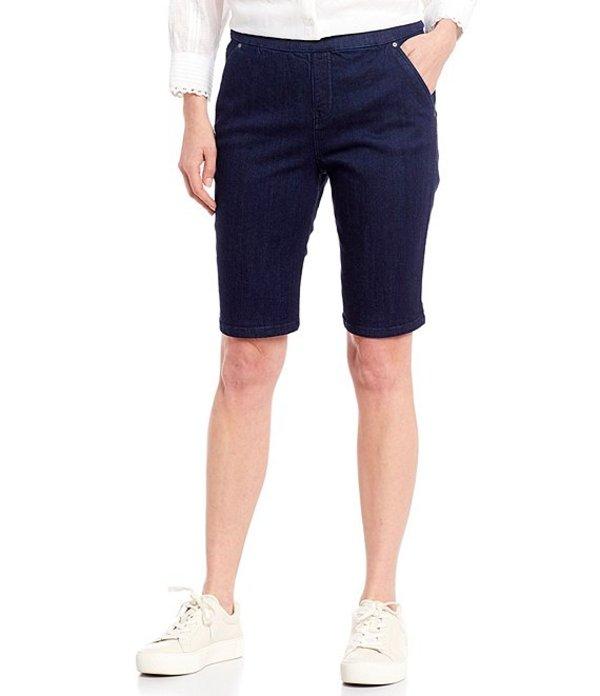 イントロ レディース ハーフパンツ・ショーツ ボトムス Petite Size Rose Tummy Control Pull-On Stretch Denim Bermuda Shorts Freedom Dark Wash