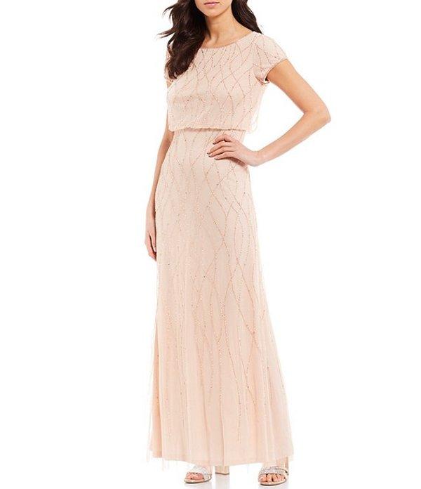アドリアナ パペル レディース ワンピース トップス Petite Size Beaded Short Sleeve Blouson Gown Champagne Sand