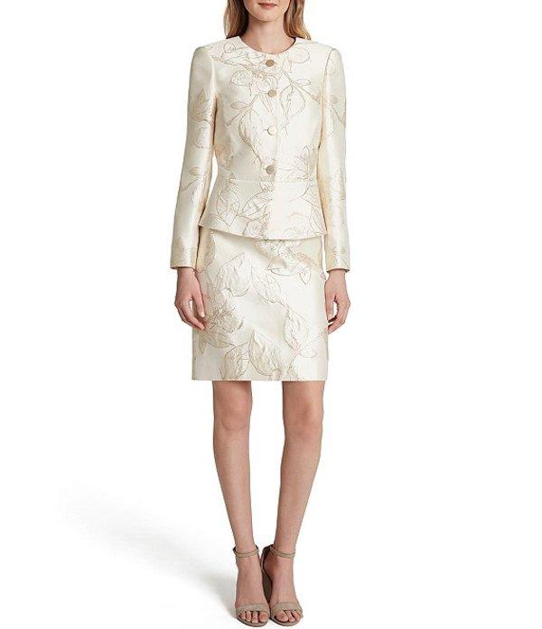 タハリエーエスエル レディース ワンピース トップス Long Sleeve Floral Metallic Jacquard Peplum Jacket 2-Piece Skirt Suit Gold Neutral Floral
