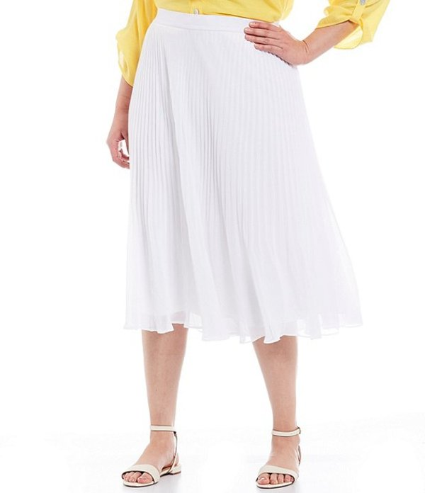 ルビーアールディー レディース スカート ボトムス Plus Size Georgette Pull-On Pleated Lined Skirt White