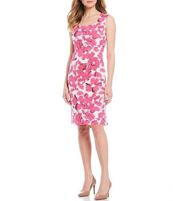 カスパール レディース ワンピース トップス Petite Size Floral Print Crepe Square Neck Sleeveless Sheath Dress Pink Perfection Multi