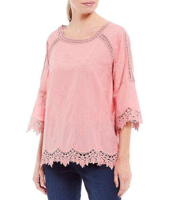 アリ マイルス レディース カットソー トップス Petite Size Bell Sleeve Embroidered Lace Trim Crochet Cotton Tunic Geranium