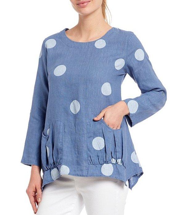 アリ マイルス レディース シャツ トップス Petite Size Linen Dot Print 3/4 Roll-Tab Sleeve Front Pocket Tunic Chambray