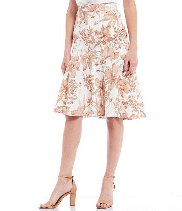アントニオ メラーニ レディース スカート ボトムス Clara Floral Print Cotton Sateen Mid Rise Flounce Hem Skirt Ivory/Ginger