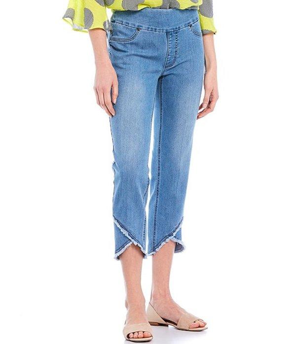 マルチプルズ レディース カジュアルパンツ ボトムス Petite Size Wide Waistband Pull-On Fringed Lapped Hem Crop Pants Light Indigo