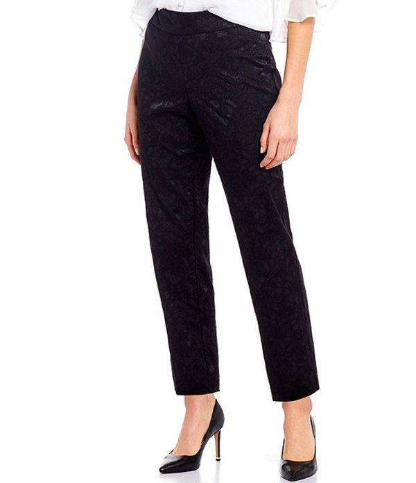 インベストメンツ レディース カジュアルパンツ ボトムス Petite Size the PARK AVE fit Textured Novelty Pull-On Classic Ankle Pants Black