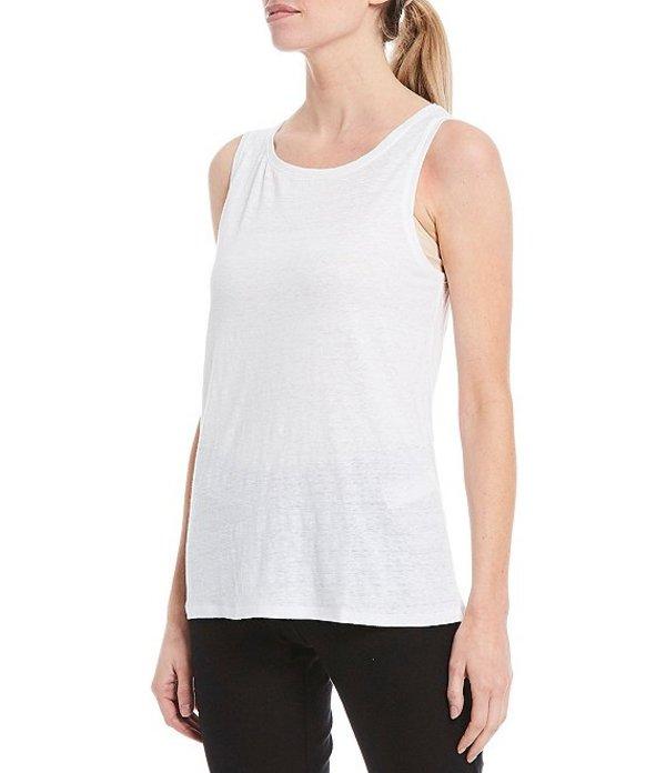 エイリーンフィッシャー レディース タンクトップ トップス Petite Size Organic Linen Jersey Jewel Neck Tank White