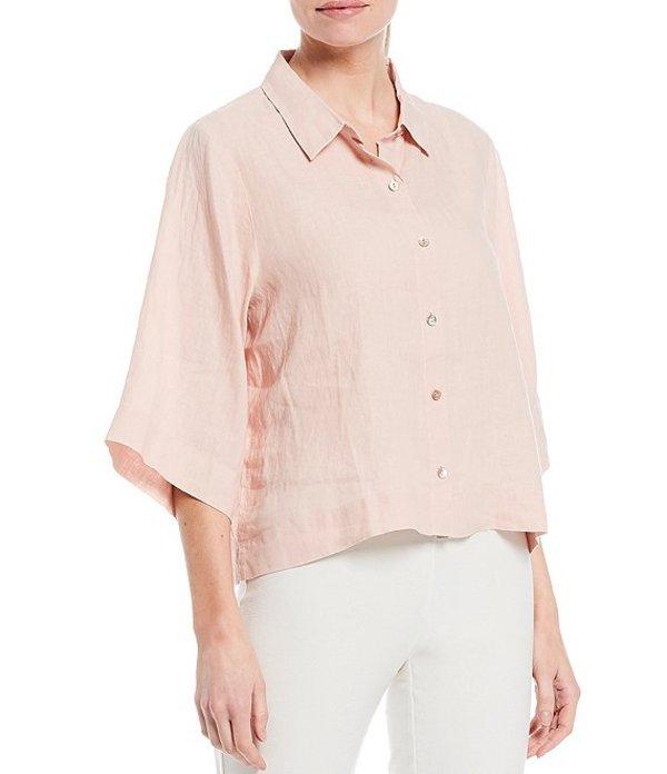 エイリーンフィッシャー レディース シャツ トップス Petite Size Organic Handkerchief Linen Flax Classic Collar Elbow Sleeve Button Front Shirt Powder
