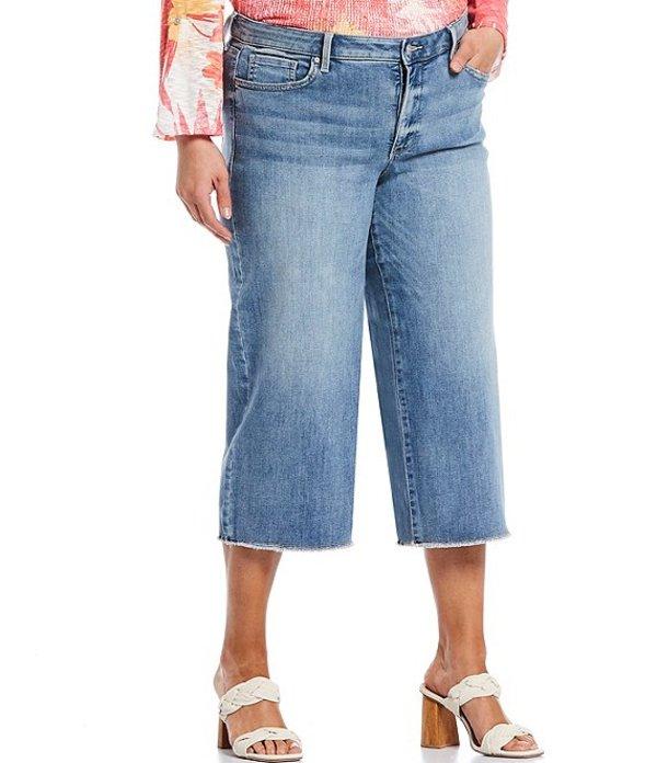 エヌワイディージェイ レディース デニムパンツ ボトムス Plus Size Stretch Denim Wide-Leg Frayed Hem Capri Jeans Coheed