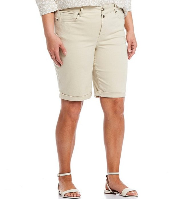 エヌワイディージェイ レディース ハーフパンツ・ショーツ ボトムス Plus Size Mock Fly Roll-Cuff Bermuda Shorts Khaki Feather