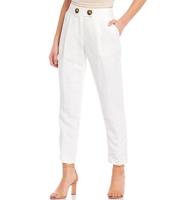 カルバンクライン レディース カジュアルパンツ ボトムス Petite Size Linen Blend Single Pleat Cuffed Ankle Pant White