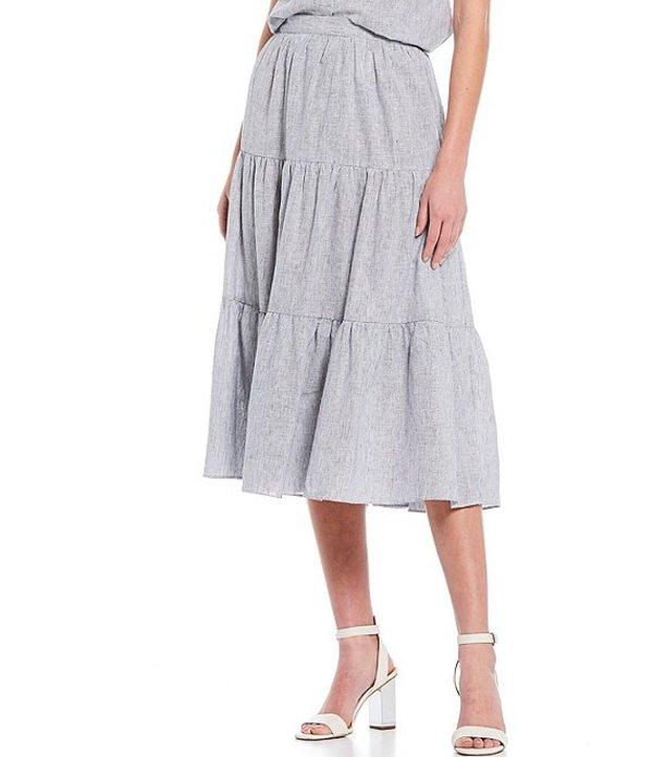 マイケルコース レディース スカート ボトムス MICHAEL Michael Kors Yarn Dye Stripe Tiered Midi Skirt True Navy